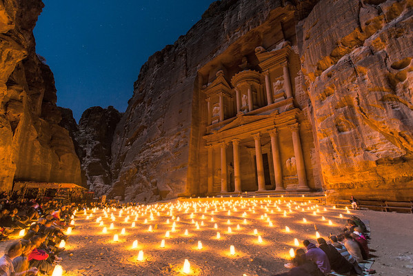 Candles at Petra Jordan by Michael Bonocore