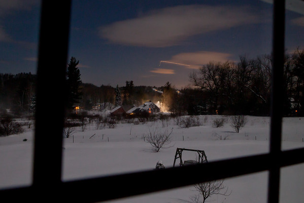 Night landscape snow storm Jan 2015