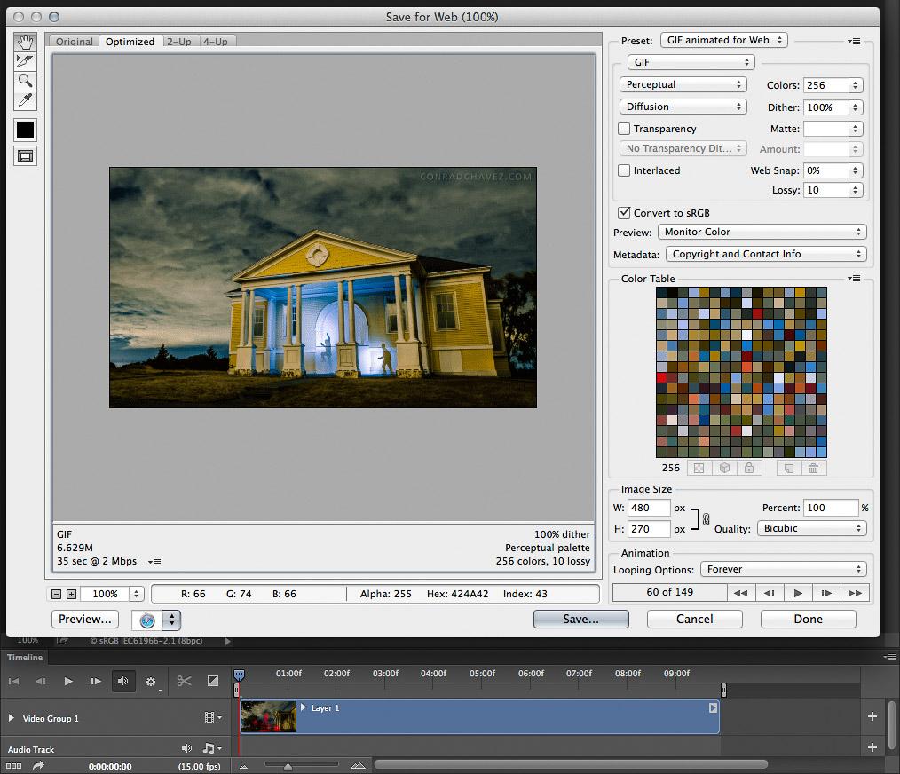 Exporting an animated GIF image from Photoshop