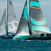 24.07.2011. Sailing Audi MedCup circuit stage from Cagliari, Italy. Region of Sardinia Trophy, class TP 52 series regatta. Quantum Racing of USA and Audi Azzurra Sailing Team (Italy).