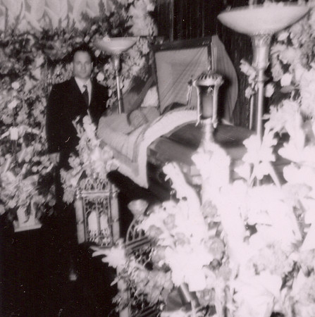 Grandpa and great-grandfather, funeral, in the parlor, 1952