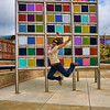 Another fun jump shot in front of a colorful sculpture.  Courtesy of Austin.  7-18-09