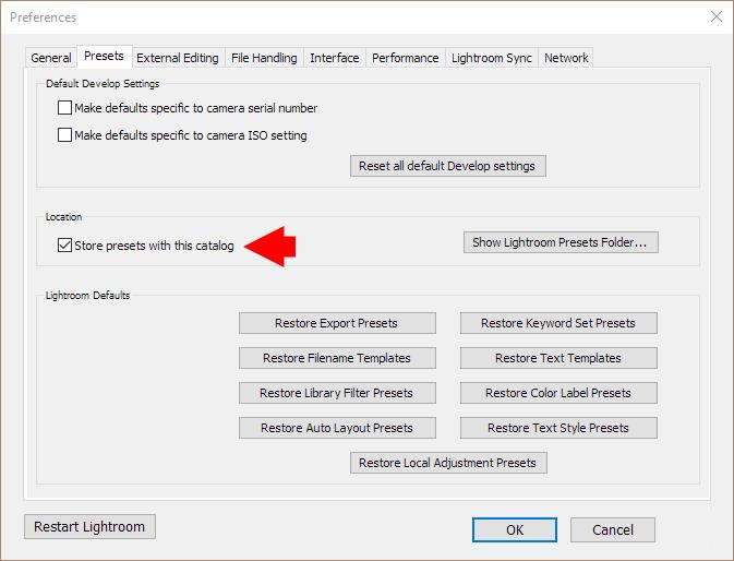 Move lightroom catalog to new computer: Setting Catalog Location