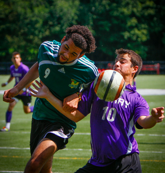 Curry College Men's Soccer scrimmages against CCI Saturday August 25, 2012 at Curry College.