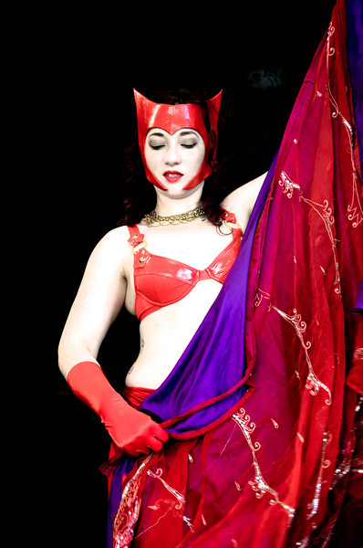 Belly Dancer Red 2 purple veil
