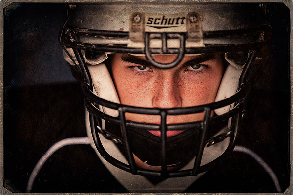 Football senior portrait by Amanda Reed