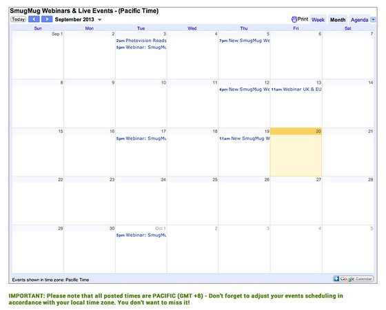 SmugMug's Google Calendar content block for embedding your calendar