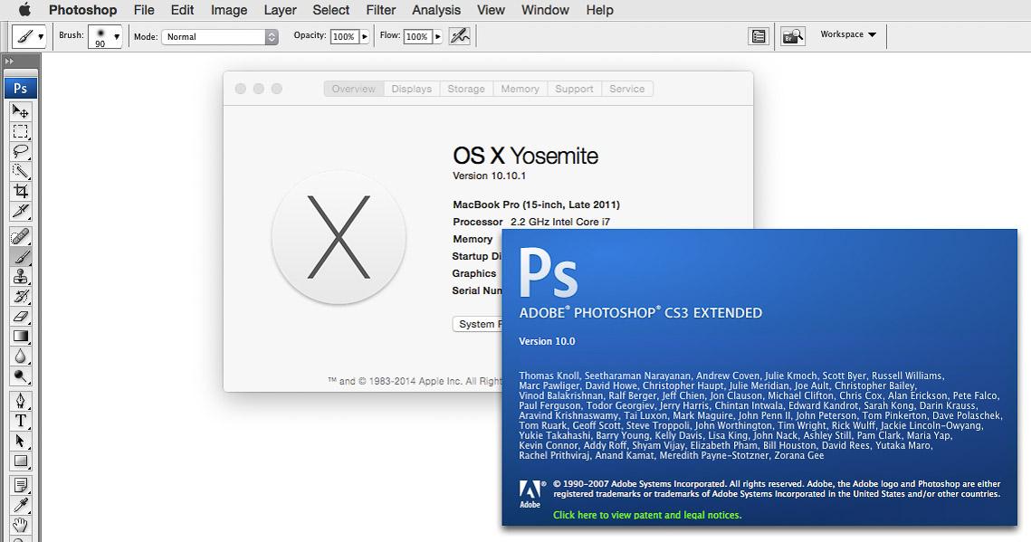 Photoshop CS3 working in OS X Yosemite.