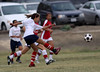 Rachel shoots but the ball is grabbed out of the air by the goalie