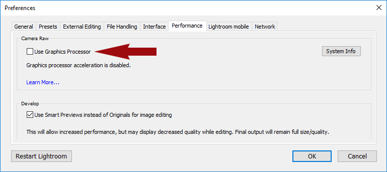 Speed Up Lightroom Performance - GPU Acceleration