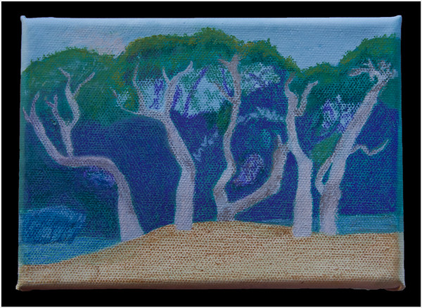 The Coastal Life Oaks are fascinating in the shapes they create with the help of the prevailing winds off of Aransas Bay.  This was an experiment with using pastel on a prepared canvas. A one-time event I'm thinking.  February, 2015.