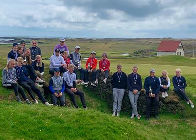 Verðlaunahafar á Íslandsmótinu í holukeppni unglinga 2019.