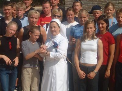 Hópurinn við brottför frá nunnuklaustrinu.