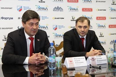 Главный тренер челябинского Челмета Евгений Галкин и главный тренер красноярского Сокола Андрей Мартемьянов прокомментировал матч, в котором Сокол выиграл со счетом 1:0