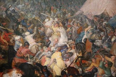 «La bataille d'Issus ou d'Arbelles» (détail), huile sur bois (Hauteur. 86,5 cm ; largeur. 135,5 cm) de Jan Brueghel l'Ancien (1610), appartenant au Louvre. - Inv. 1094, photographiée lors de l'exposition temporaire « Rubens et son Temps » au musée du Louvre-Lens.