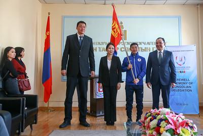 2019 оны хоёрдугаар сарын 26. Дэлхийн оюутны Универсиад их наадамд оролцох Монголын багийг үдэх ёслол боллоо. ГЭРЭЛ ЗУРГИЙГ Б.БЯМБА-ОЧИР/MPA
