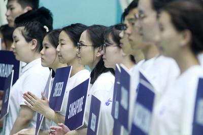 """2019 оны зургаадугаар  сарын 26. """"Токио-2020"""" олимпийн эрхийн оноо өгөх бадминтоны олон улсын тэмцээн болов.  ГЭРЭЛ ЗУРГИЙГ Г.БАЗАРРАГЧАА /MPA"""