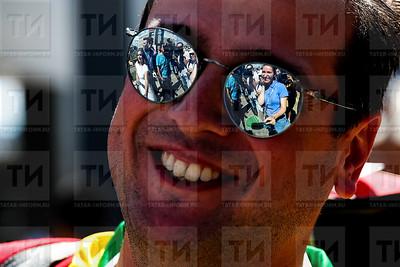 Россия. КАЗАНЬ. 06.07.2018 - Прибытие двухэтажного поезда с болельщиками (фото: Ильнар Тухбатов/ ИА Татар-Информ)