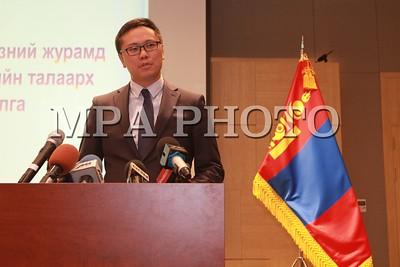 2019 оны наймдугаар сарын 26. БНСУ-ын Хууль зүйн яамны Цагаачлал, шилжилт хөдөлгөөний албаны дарга ноён Ча Гюү Гын тэргүүтэй төлөөлөгчид Монгол Улсад айлчилсан үр дүнгийн талаар мэдээлэл хийж байна. ГЭРЭЛ ЗУРГИЙГ Г.БАЗАРРАГЧАА/MPA