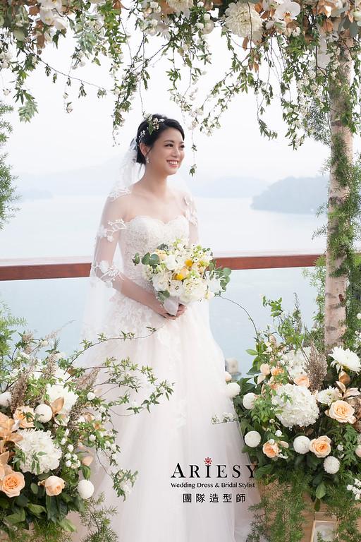 歐美白紗造型,新娘髮型,黑髮新娘造型,戶外婚禮,證婚儀式造型,日月潭涵碧樓婚禮