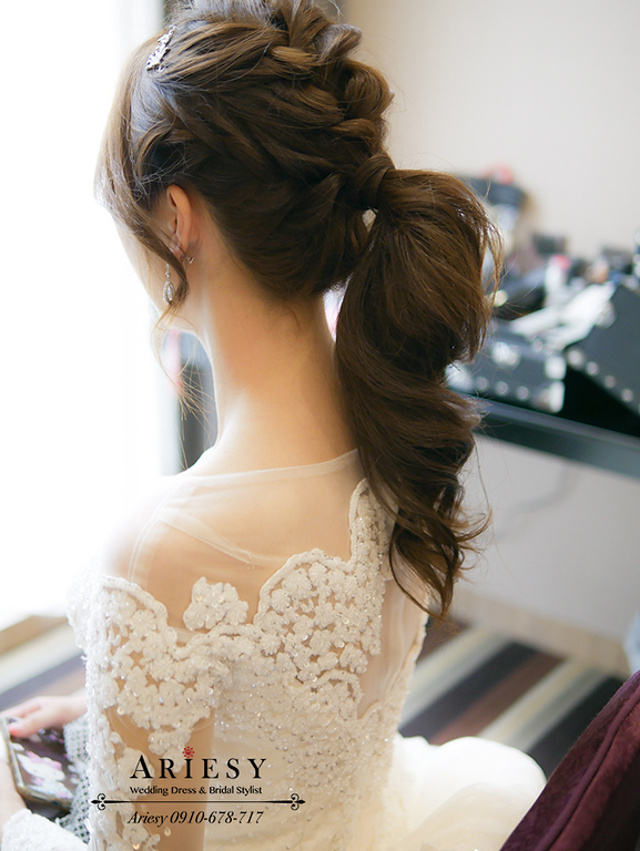 馬尾造型,白紗髮型,韓風妝感,新娘髮型,新娘秘書,台灣杭州跟妝,ariesy,愛瑞思
