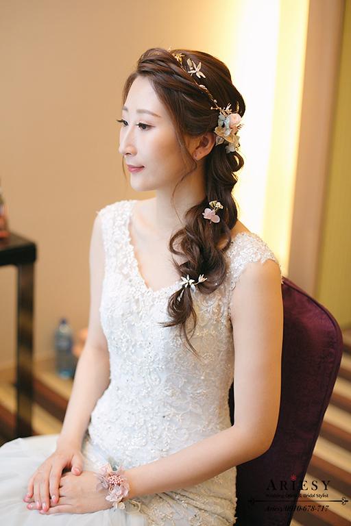 鮮花造型,鮮花編髮,台灣杭州跟妝,ariesy,愛瑞思,自然妝感,送客造型