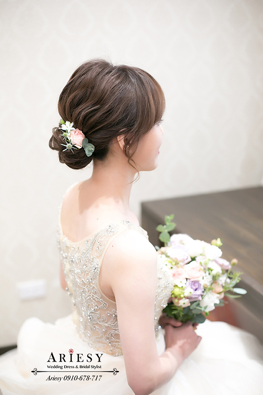 韓風新秘,愛瑞思,Ariesy,短髮新娘造型編髮,中部新娘秘書推薦,台北新秘