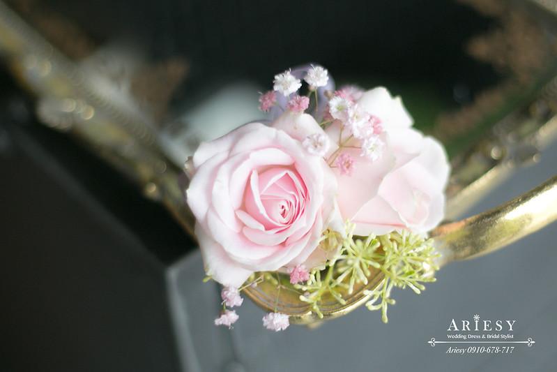 粉色主婚人胸花,歐美風,愛瑞思鮮花新秘,新娘捧花