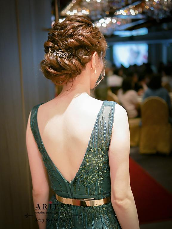 時尚新娘造型,編髮新秘,編髮新娘髮型,綠色亮片禮服,魚尾晚禮服,ARIESY,歐美髮型