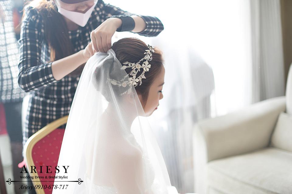 白紗造型、新娘秘書、歐美風新秘、新娘髮型、台中新秘