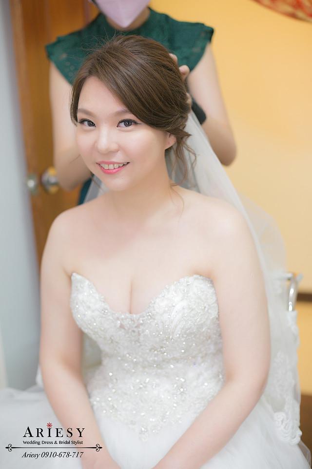 新娘秘書,台中新秘,戶外婚禮,白紗造型,中僑婚宴會館,新娘髮型