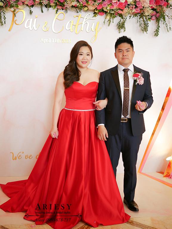 送客新娘造型,時尚名媛新娘髮型,紅色禮服造型,林酒店婚宴,新娘髮型,愛瑞思,大尺碼新娘禮服,ARIESY