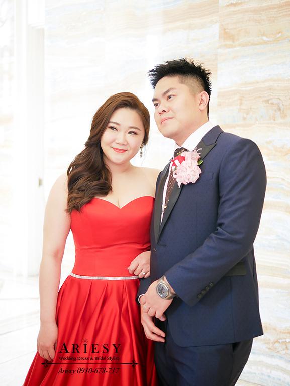 送客新娘造型,時尚名媛新娘髮型,紅色禮服造型,林酒店婚宴,新娘髮型,愛瑞思,ARIESY,大尺碼新娘禮服