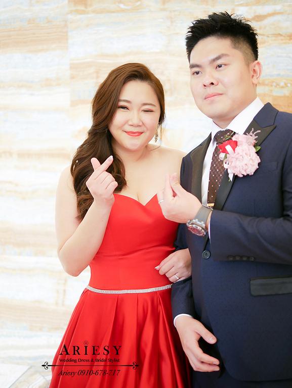 送客新娘造型,時尚名媛新娘髮型,紅色禮服造型,林酒店婚宴,新娘髮型,大尺碼新娘禮服,愛瑞思,ARIESY