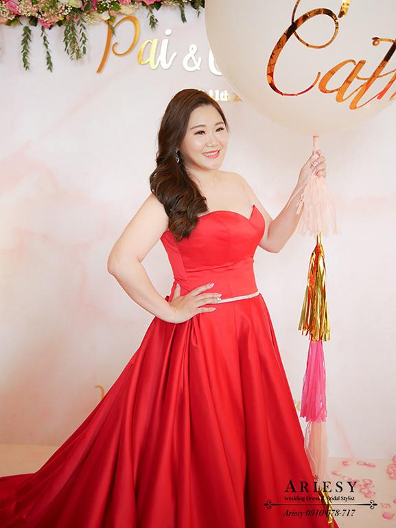 送客新娘造型,時尚名媛新娘髮型,紅色禮服造型,林酒店婚宴,新娘髮型,愛瑞思,ARIESY