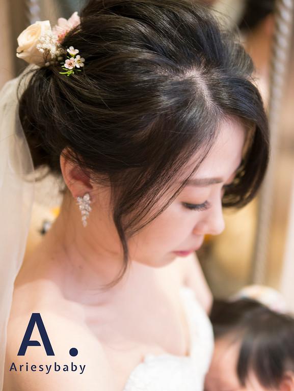 白紗造型,清新新娘造型,Ariesy愛瑞思手工婚紗,Ariesybaby造型團隊,鮮花花藝飾品