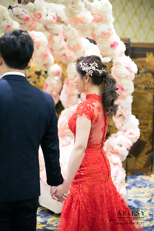 台中新秘,旗袍禮服敬酒新娘造型,新娘秘書,新娘編髮馬尾髮型,ARIESY,愛瑞思
