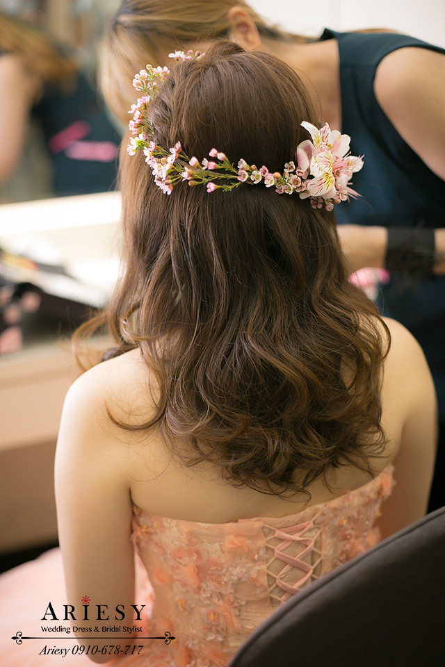 鮮花造型,鮮花新秘,新娘髮型,編髮造型,新秘作品