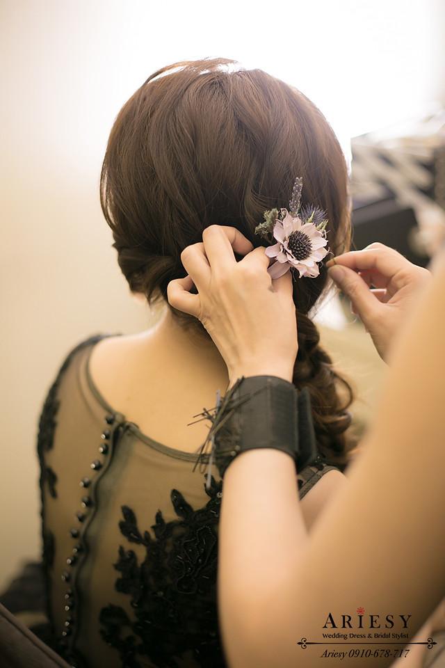乾燥花新娘造型,鮮花新秘,新娘髮型,編髮造型,新秘作品