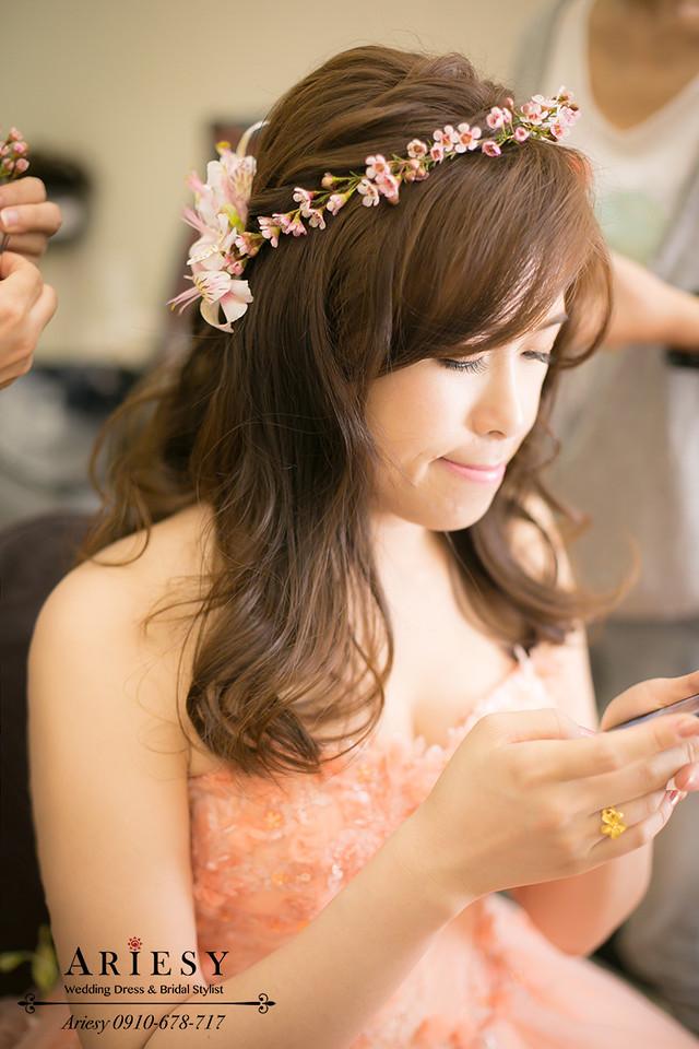 花圈造型,鮮花新秘,新娘髮型,編髮造型,新秘作品