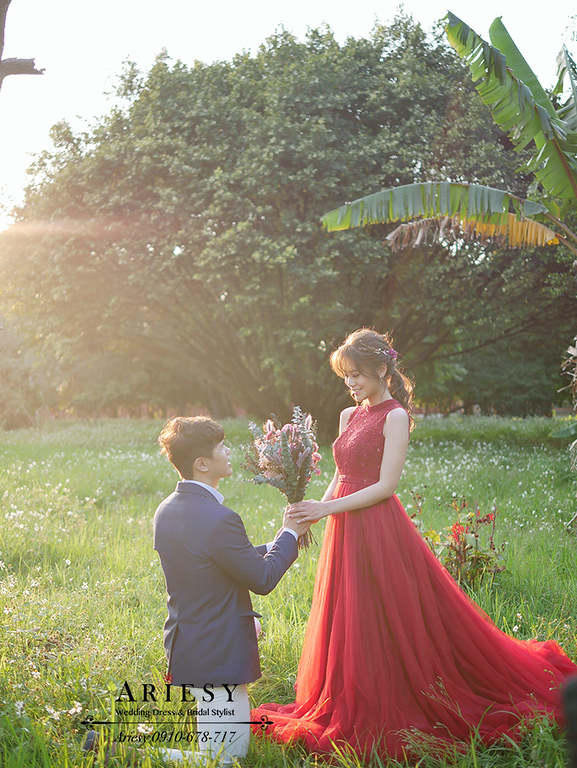 婚紗包套,紅色禮服自助婚紗,新莊婚紗,台北大學婚紗,森林系新娘髮型,ARIESY,愛瑞思