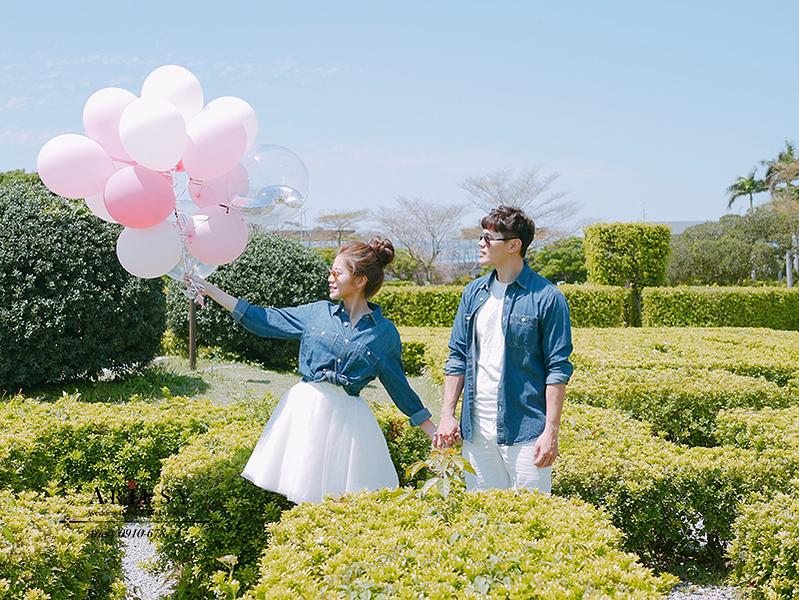 婚紗包套,自助婚紗,新莊婚紗,牛仔系列婚紗,氣球拍婚紗,迷宮,新生公園