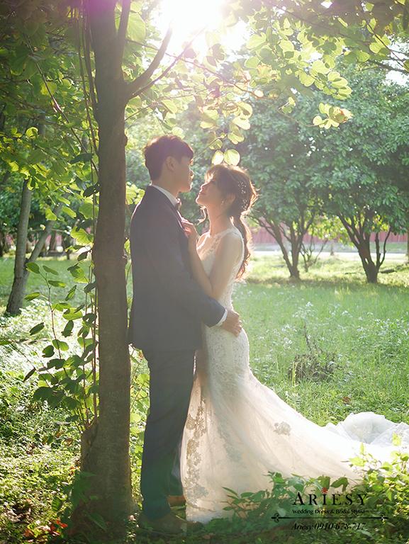 婚紗包套,白紗自助婚紗,新莊婚紗,台北大學婚紗,森林系新娘髮型,ARIESY,愛瑞思