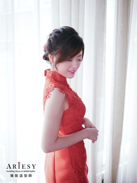 自然清透妝感、編髮新娘造型、低盤髮造型、文定旗袍造型、編髮低馬尾