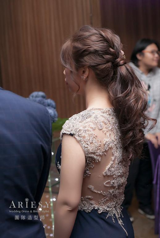 新娘髮型,編髮造型,台北新祕,新娘秘書,新娘造型,敬酒造型,馬尾造型,自然妝感