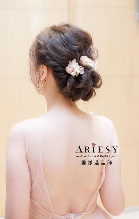 新娘髮型,編髮造型,台北新祕,新娘秘書,新娘造型,敬酒造型,短髮新娘,花藝飾品