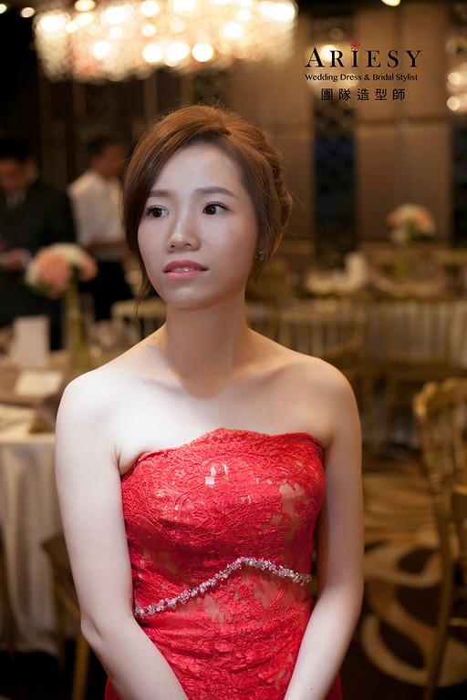 文定造型,蓬鬆編髮造型,台北彭園婚宴,文訂禮服,新娘造型