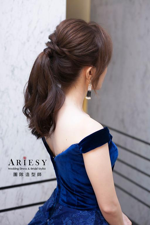 送客造型,蓬鬆編髮造型,俏麗馬尾造型,新娘造型,台北彭園婚宴,新娘祕書