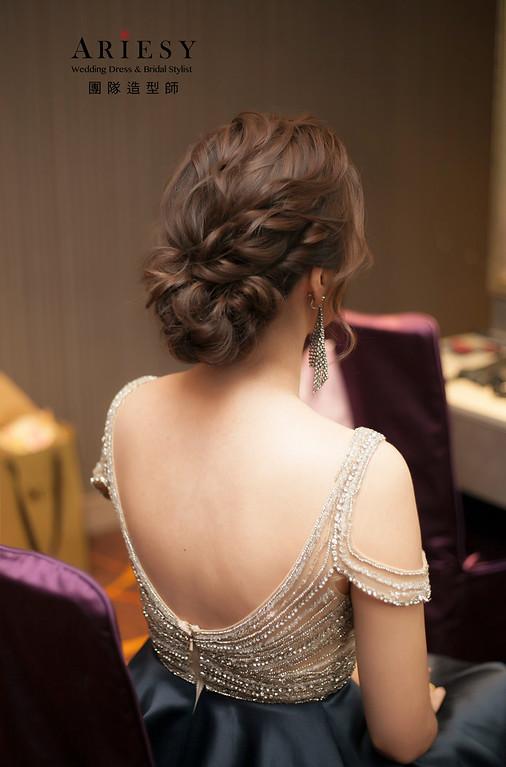 敬酒造型,送客造型,蓬鬆編髮新娘造型,台北新娘祕書,晚禮服造型,徐州路二號婚宴