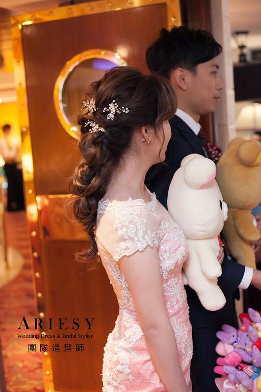 敬酒造型,編髮新娘造型,自然妝感,新娘髮型,晚禮服造型